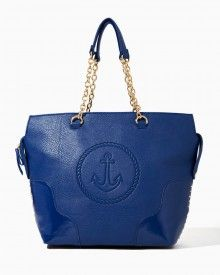 Shop handbags like this nautical-inspired tote. Navy blue and gold. Anchor imprint, chain-link handles, stud accents, side snaps. Patent leather corners add a rich touch.