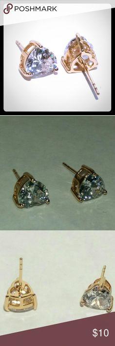 Gold Heart Cut CZ Earrings 18 karat yellow gold heart cut cubic zirconium stud earrings - 18k YG plated,  CZ - 6mm - Push back backings Jewelry Earrings