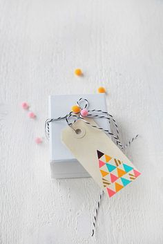 All Angles: handmade washi tape gift tag. Wrapping Ideas, Present Wrapping, Paper Packaging, Pretty Packaging, Gift Packaging, Diy Gifts, Handmade Gifts, Little Presents, Brown Paper Packages