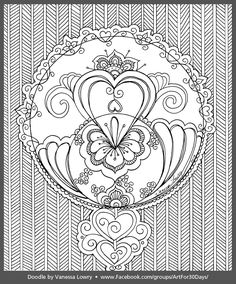 Heart Doodle, With All My Heart, 30 Day Challenge, Queen Of Hearts, Online Art, Coloring Pages, Doodles, Tapestry, Play