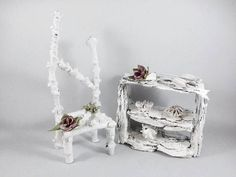 Flower Fairy White Furniture Set This little wintry fairy set will be made from natural materials and then each piece will be individually decorated making a wonderful unique and magical gift just for you. The set comprises a lovely shelving unit and a charming chair, both