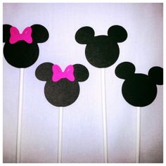 Mickey and Minnie Mouse cupcake sticks black white and red bow 12 count on Etsy, $7.99