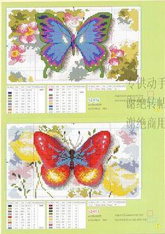 Cross-stitch Beautiful Butterflies, part Gallery. Butterfly Stitches, Butterfly Cross Stitch, Cross Stitch Flowers, Red Butterfly, Cross Stitch Designs, Cross Stitch Patterns, Cross Stitching, Cross Stitch Embroidery, Cross Stitch Boards