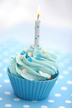 Birthday cupcakes - idea #5, almost exactly what I had in mind...polka dots and blue :)
