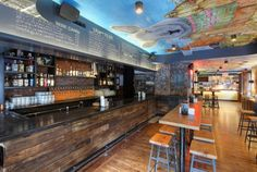 Agave spirits and micheladas galore; namesake tacos with fixings; ceiling art from local artist Gaia. Photo: Melissa Hom