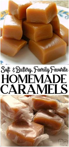 These Homemade Caramels will absolutely melt in your mouth Incredible from scratch recipe for Homemade Caramel made with heavy cream and butter caramel candy homemade recipe Christmas caramels butter from BUTTER WITH A SIDE OF BREAD Homemade Caramel Recipes, Homemade Candies, Fudge Recipes, Homemade Caramels, Homemade Recipe, Homemade Sweets, Homemade Christmas Candy, Homeade Candy, Soft Caramels Recipe