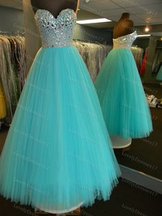 Gorgeous Blue Ball Gown Tulle Sweetheart Floor by LovelyDresses17, $225.99