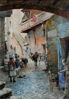 """ETTORE ROESLER FRANZ ( Rome 1845 – 1907 ), Arco delle Azimelle in the Roman Ghetto.Ettore Roesler Franz, the painter watercolorist, dismayed by the sudden loss of parts of the city so significant in terms of historical, artistic and social, dedicates himself between 1876-1897 to the creation of a series of watercolours called """" Picturesque Rome. Memories of an era that passes"""", also known by the name of """" Roma Sparita """"."""