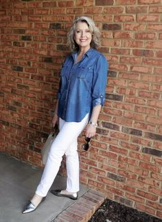 Susan Street wearing Denim Shirt, Pimkie Denim Shirt, classic denim shirt, Chambray Dress, Lola White Jeans, Vero Moda White Jean, MADE IN AMERICA SKINNY WHITE JEAN, Croft & Barrow Women's Mary Jane Shoes and Vans Winston Decon Women's Skate Shoes