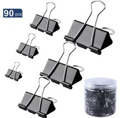 Metal Binder Clips Foldback Clamps Paper Document Organizer Assorted Size 90 PCS #OfficeSupplies