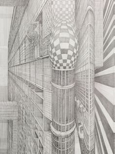 The Capacious Memory X by Robbie Cornelissen Drawing Now, Netherlands, Illustration Art, Illustrations, Skyscraper, Multi Story Building, Louvre, Contemporary, Drawings