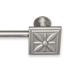Pinnacle Adjustable Curtain Rod Set with Floral Finial (144 - Pewter Beaded Rod Sets) (Metal)