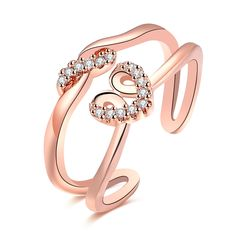 Rose Gold Plated Double Lines Heart Zircon Open Ring