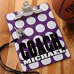 Every coach needs one of these cool personalized clipboards from PersonalizationMall! They have them for all different sports and in different colors for only $19.95! Personalize them with any coach's name or team name for free! #Coach #Basketball