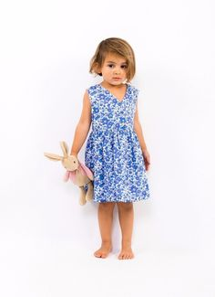 Elina Liberty Dress - baby, girls, toddler blue summer dress. Handmade to order from The Little Cloth Shop