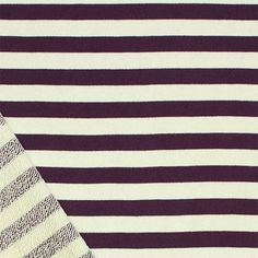 """Purple Cream Half Inch Stripe Cotton French Terry Knit Fabric - Gorgeous eggplant purple and cream color stripe 100% cotton french terry knit.  French terry has a smooth jersey top side and a medium terry pile on bottom side of fabric with a smooth, tight hand, nice drape, and small stretch. True medium weight.  Stripes measure 1/2"""" and fabric measures 72"""" wide!  ::  $6.75"""