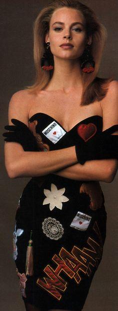 Giampaolo Vimercati for Flare magazine, February 1988. Dress by Moschino. 80s fashion