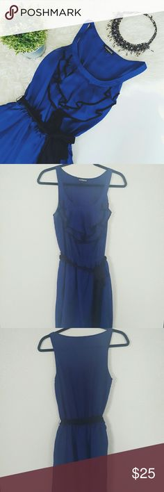 EXPRESS blue ruffles dress Please let me know if you are interested or want to make an offer! Express Dresses Midi