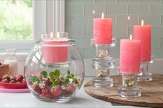 Clearly Creative Collection 2014 with Wild Strawberry GloLite and Pillars. www. Pots, Unique Candles, Wild Strawberries, Heaven Sent, Winter Springs, December 2013, Decorating Your Home, Event Planning, Candle Holders