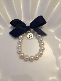 Girls Pearl initial charm bracelet,  Flower Girl Bracelet, Flower Girl Jewelry, Custom made Flower Girl Gift