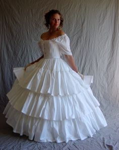 Ruffled Petticoat three ruffles Civil War Era  in cream, white polished cotton or send us your OWN fabric. $475.00, via Etsy.