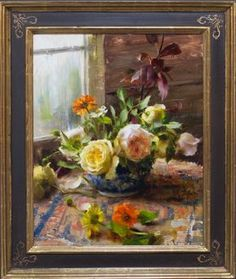 """""""Roses by the Window"""" oil x ©Daniel J. Keys 2016 ©This image is under strict copyright to the artist and may not be reproduced in any form Daniel Keys, Daniel J, Virtual Art, Keys Art, Still Life Flowers, Oil Painting Flowers, Southwest Art, Painting Still Life, Detail Art"""