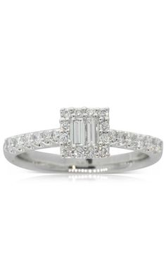 18ct white gold .21ct diamond baguette engagement  ring