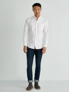 Frank And Oak The Jasper Oxford Shirt In White - M White Shirt Outfits, Oxford White, Button Down Collar, Season Colors, Looks Great, Chef Jackets, Normcore, Slim, Jasper
