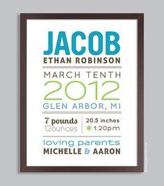 Custom Birth Name Print 11x14 Nursery Wall Art Print (baby name and birth stats) pink & green. $36.00, via Etsy.