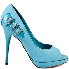 If you want extra added on to your daily attire, then grab this gorgeous Michael Antonio pump.  Kafi features a pretty light blue man made upper with a trio of cute buckles placed at the side.  This peep toe boasts a 1/2 inch platform and a 4 3/4 inch platform