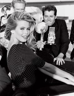 Claudia Schiffer's great polka-dot top from the 1989 Guess Jeans Campaign