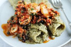 Shrimp Veracruz with Green Olives & Capers and Tortillas Robed in Pumpkin See Tomatillo Sauce - from Cook & Be Merry