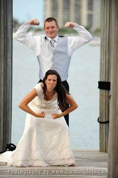 The #bride and the #groom having fun on their #Wedding Day!