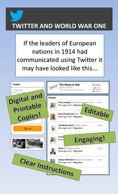 Works really well. This activity will keep students engaged the entire class!  Students use the Twitter Template (ppt. file) or the printable version to create a dialogue between the leaders of Europe in 1914.