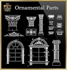 Ornamental Parts of Buildings  The .DWG files are compatible back to AutoCAD 2000. These AutoCAD drawings are available to purchase and Download NOW! Drawing Block, Cad Drawing, Door Gate Design, Facade Design, Stair Design, Stairs Architecture, Architecture Details, Architecture Diagrams, Architecture Portfolio
