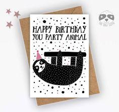 Funny Birthday Card, Sloth Party Animal Card, Funny Sloth Card, Card For Him, Card For Her, Best Friend Birthday, Colleague Birthday - F022 Sloth Happy Birthday, Best Friend Birthday, Funny Birthday Cards, Pajama Party, Unique Cards, Animal Cards, Kraft Envelopes, Custom Items, Funny Sloth