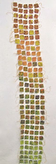 Dupioni silk squares held together by embroidery floss: the sorts of things one can do on a Bernina machine.