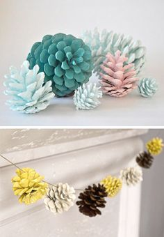 painted pine cones for christmas decor