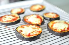 Aubergine Mini Pizza Crust topped with Ajvar relish and Mozzarella