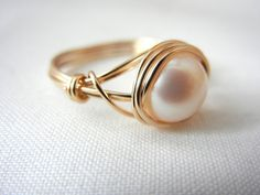 Freshwater Pearl Ring 14kt GoldFilled Ring Wire by threestonebirds