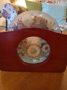 Coasters  Pressed Flowers on Glass in Wood Holder  by vertzvkv, $19.00