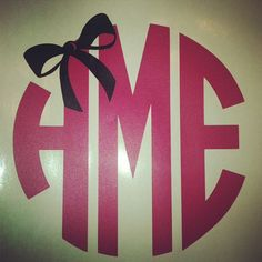 Monogram with Bow Decals by SimpleSweetMonograms on Etsy. So cute!