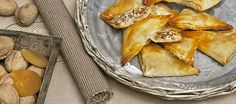 Crispy phyllo appetizers with goat cheese, walnuts and chopped Phyllo Appetizers, Filo Pastry, Birthday Treats, Middle Eastern Recipes, Goat Cheese, Finger Foods, Feta, Tapas, Dinner Recipes