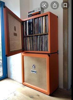 Super home studio music design vinyl records ideas - Rafael Moreno Tamariz - Guitar Storage, Vinyl Record Storage, Lp Storage, Book Storage, Vinyl Shelf, Cable Storage, Home Music Rooms, Music Studio Room, Stockage Record