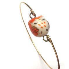 Brass Orange Porcelain Owl Bracelet