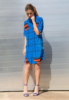 The casual shape of this shirt dress perfectly off-sets the bolder colours. Bold Colors, Colours, Monochrome Fashion, Dress Shirts For Women, Shirt Dress, T Shirt, Evening Gowns, Baby Dolls, Vintage Dresses