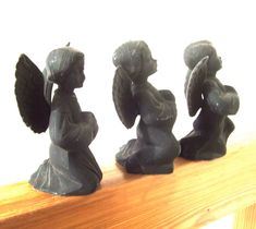 Trio of Charcoal Angels Hong Kong by lookonmytreasures on Etsy
