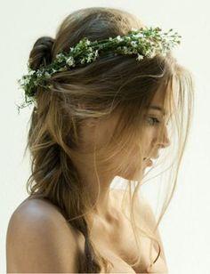 Risultati immagini per acconciature sposa con coroncina di fiori