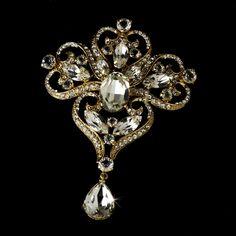 Elegant Gold plated Dynasty Rhinestone Bridal Brooch Comb with Vintage Inspiration - Affordable Elegance Bridal -
