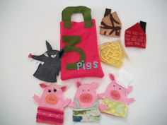 Three Little Pigs Finger Puppet Set, via Flickr.